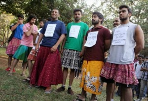Men in Skirts Campaign, Bangalore India. Photo credit: Huffington Post