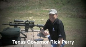 A still from Rick Perry's 2011 video greeting the NRA convention