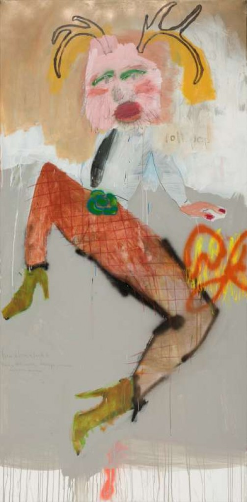 "mr. rager mixed media on canvas 2012 96"" x 48"""