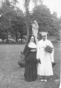 Elaine Clyburn with Sister Agnes Clare at Mt. Saint Joseph Academy's Graduation in 1952