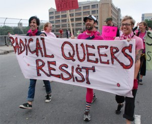 The group Radical Queers protesting government cuts.