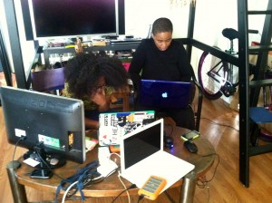 Lex Kenndy and Aishah Shahidah Simmons editing Lorde-Rollins' interview copyright: Rene Miranda