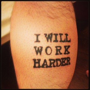 "This tattoo on my left calf was inspired by many voices, but one of the most insistent was Lorde's asking me, ""Am I doing my work?"""
