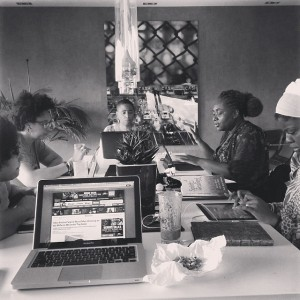 (L-R) Nikki Patin, Christina Jaus, Aishah Shahidah Simmons, Farah Tanis, Sherley Accime #CERD photo: Frances Nielah Bradley