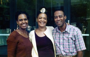 Toni Cade Bambara standing between Malaika Adero and Wesley Brown at the National Black Arts Festival in Atlanta, 1995 Courtesy of Malaika Adero, all rights reserved by M. Adero.