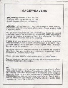 ImageWeavers Meeting Flyer, 1995