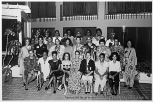 1988 Nassau Bahamas, Essence Writers' Retreat. This item is reproduced by permission of the Huntington Library, San Marino, California. Seated (from left) Dr. Julianne Malveaux, Betty Winston Baye, Stephanie Stokes Oliver, Sonia Sanchez, Thulani Davis, Ntozake Shange, Valerie Wilson Wesley, Bebe Moore Campbell. Second row, from left Toni Cade Bambara, Elsie Washington, Barbara Smith, Marlene NorbeSe Philip, Bonnie Allen, Sherley Anne Williams, Cheryll Y. Greene, Ayesha Grice, Phyl Garland, Ivy Young, Elaine Brown. Last Row, from left Susan L. Taylor, Lena G. Sherrod, Renita Weems, Jean Wiley, Audrey Edwards, Jill Nelson, Vertamae Grosvenor, Octavia Butler, & Lucille Clifton.