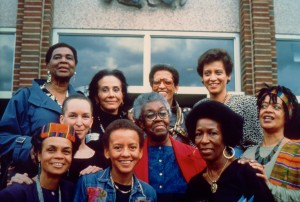 """Sistren: Black Women Writers at the Inauguration of Sister President Johnnetta B. Cole"" which I took in 1988.  Top Row: Louise Meriwether, Pinkie Gordon Lane, Johnnetta Cole and Paula Giddings. Middle Row: Pearl Cleage, Gwendolyn Brooks and Toni Cade Bambara. Bottom Row: Sonia Sanchez, Nikki Giovanni and Mari Evans photo credit: Susan J. Ross. ©1988"