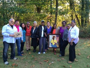 ImageWeavers' Twentieth Anniversary Reunion,  October 25, 2014 L-R Mee Lin Yuk, Roxana Walker Canton, Anula Shetty, Tina Morton, Stephanie Yarbrough, Miyoshi Smith, Nikki Harmon, Asake Denise Jones, Yvonne Marie Jones, Aishah Shahidah Simmons, NaOme Richardson Photograph: ©Roxana Walker-Canton