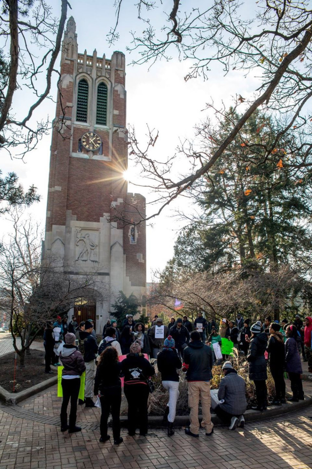 Black students and professors, Beaumont Tower, Michigan State University, December 6, 2014. photo by Darryl Quinton Evans
