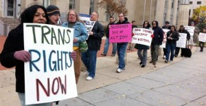 Activists in DC protesting inadequate police response to crimes against the transgender community.