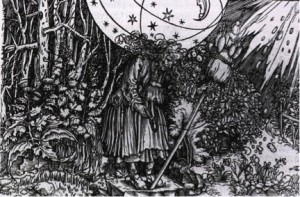 "Federici discusses Hans Weiditz's ""The Witch's Herbary"" (1532) engraving in her book, which shows women's special knowledge of medicinal herbs and treatments including contraceptives that threatened the new capitalist order."