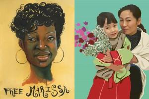 Marissa artwork by Molly Crabapple; Nan-Hui artwork by Dillon Sung