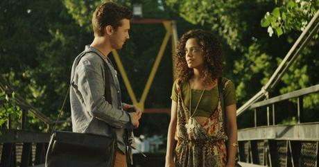 "Justin Dobies '12 (Gabe) and Tessa Thompson (Sam) in ""Dear White People."" Photo courtesy of Roadside Attraction in Yale Alumni Magazine."