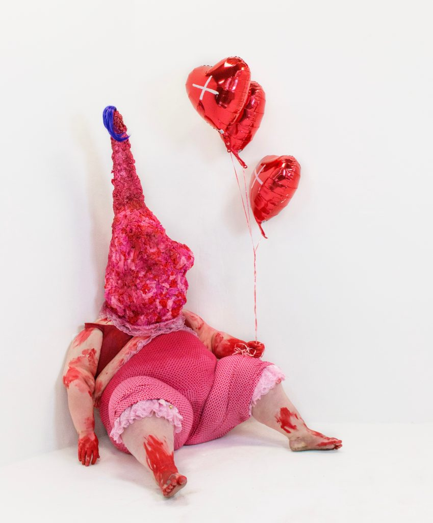"""Not Everyone Gets to Be Pretty,"" performative sculpture by Kaitlyn Hunter, photo by Lindsay Jordan, 2015."