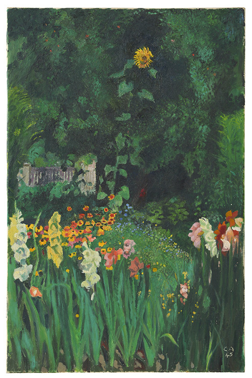 """Cuno Amiet. """"Flower Garden with Sunflower."""" 1945. A Long Time Alone."""